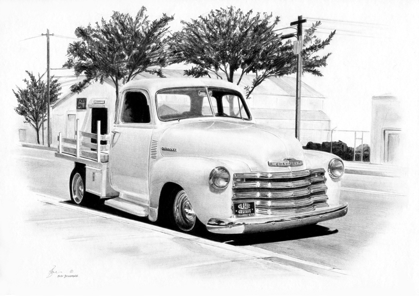 Chevy Stepside Realistic Drawing