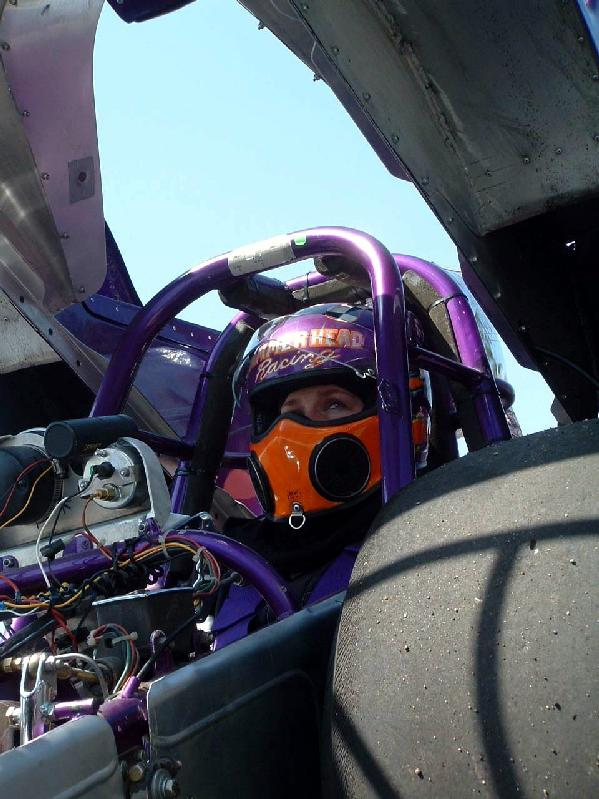 Jen in Newt's front engine dragster