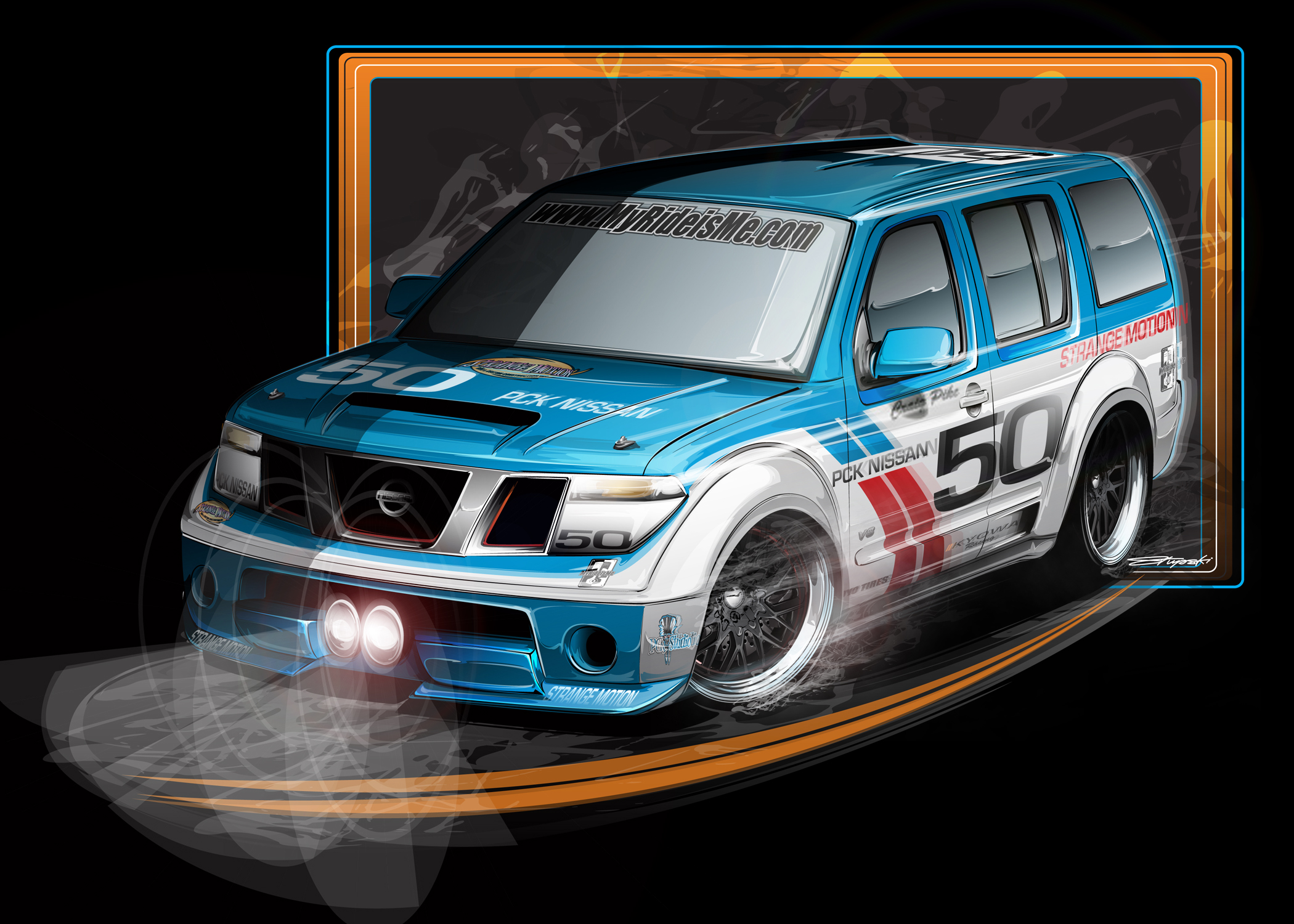 Nissan Pathfinder V8 done up like a Datsu 510 race car vintage