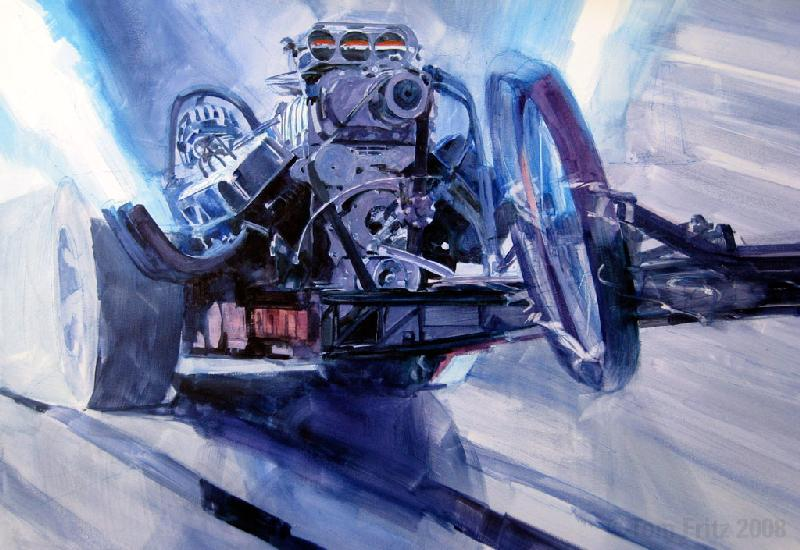 Front Engine dragster race car art -pen & brush