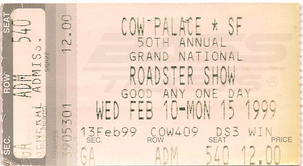 Ticket Stub from the 50th Annual Grand National Roadster Show