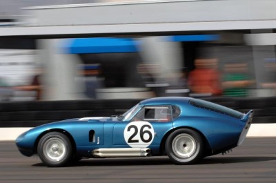 Bob Bondurant taking a hot lap in the Shelby Daytona Coupe