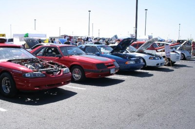 A set of late model Ford Mustangs at the JENNABEARS Car Show and Family Day