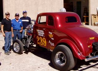 The Willys Gasser Tribute car with original team January 2008