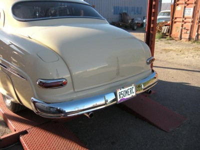 Naked '1950 Mercury' bumper without bumper gaurds