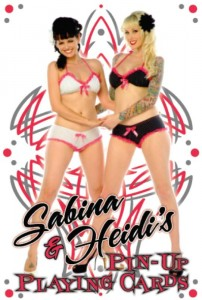 Pinup Models Heidi Van Horne and Sabina Kelly playing cards