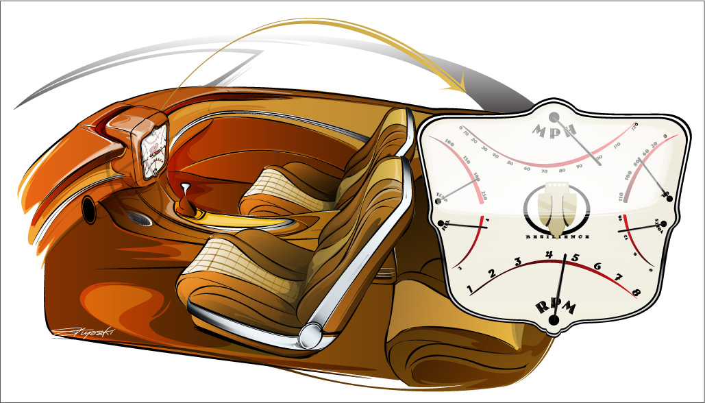 "custom interior drawing, custom buick, Project ""Resilience"" Interior Concept drawing"