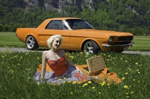 Zoe Scarlett with an custom 2 seat Mustang - this is Switzerland!
