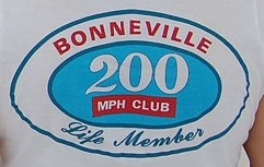 Bonneville 200mph club t-shirt picture shot at Speed Week 2009