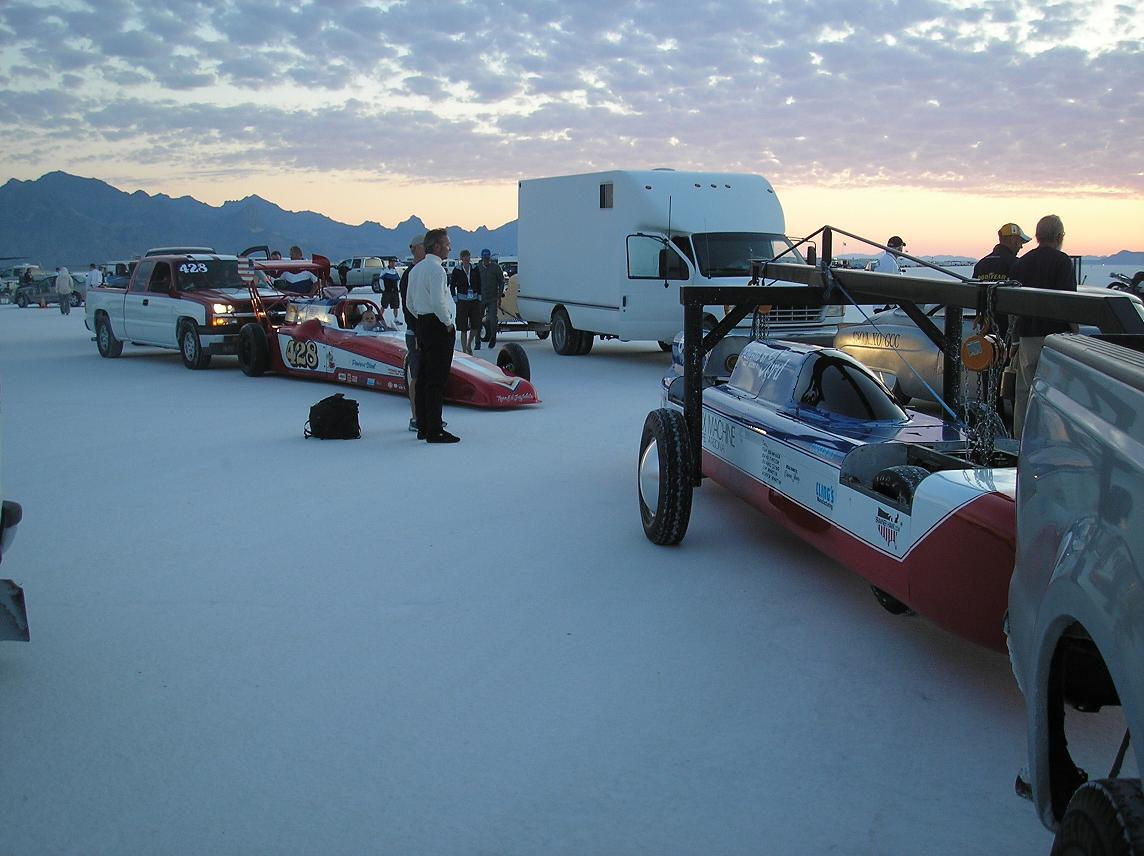 Bonneville salt flats, Streamliner at sunrise on the salt