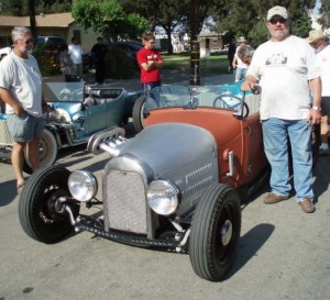 Rex and his pride and joy, a 1929 Lakes Modified Roadster