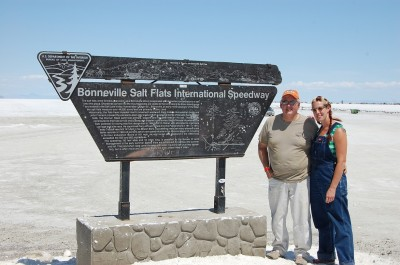Bonneville Speedweek grease girl and dad