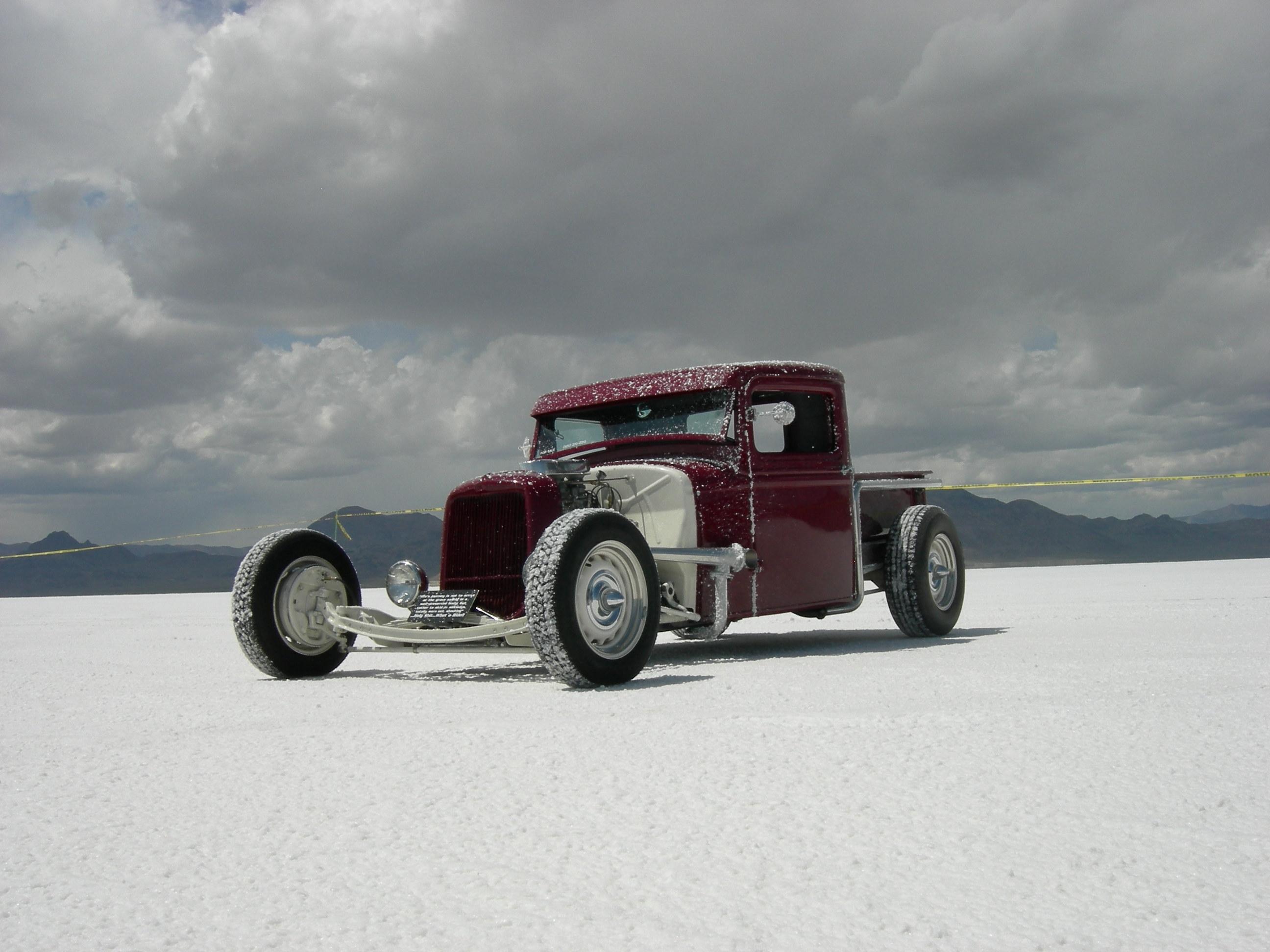 1933 Ford Pickup hot rod on virgin salt at Bonneville Salt Flats