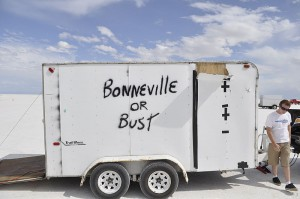 Bonneville or Bust trailer grafitti