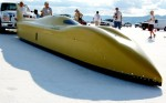 Bonneville streamliner preparing for its frist run ever down the salt