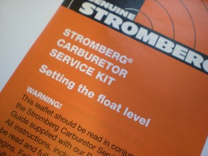 "Stromburg Carb Service Kit and ""Setting the Float level"""