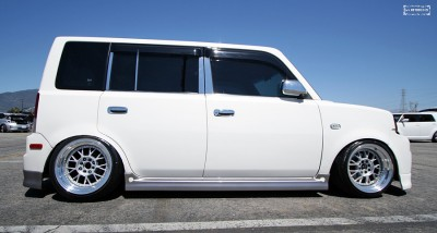 A super clean Scion xB rocking wide low offset 16x9 miro wheels