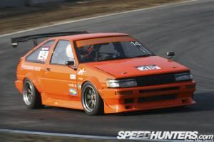 Orange track attack AE86 Corolla GT-S at Tsukuba Circuit