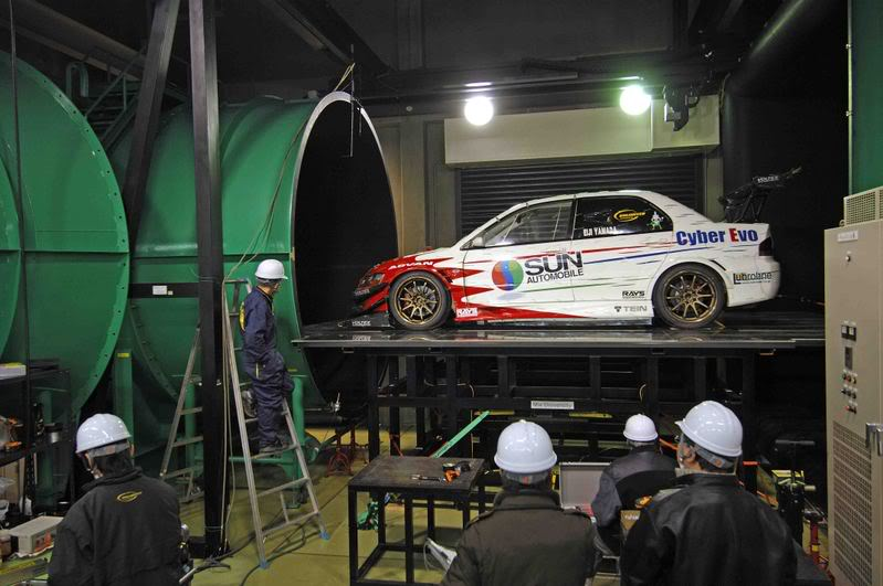 Mitsubishi Cyber Evo on the Wind Tunnel
