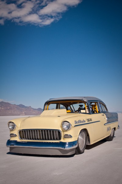 Bomber shot of this 1955 Chevy at the Bonneville Salt Flats