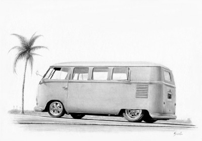 hot rod art, car art, 1954 VW bus