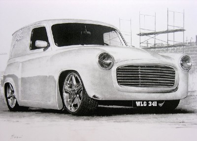 hot rod art, hot rod drawing, hilman husky