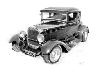 hot rod drawing, hot rod art, 32 Ford Coupe drawing