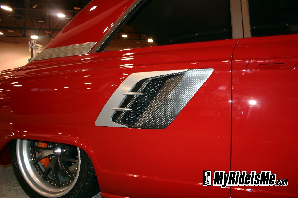 """Custom side trim done in carbon on the Ring Brothers' """"Afterburner"""" 1964 Ford Fairlane"""