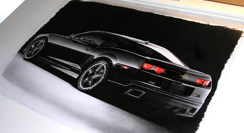 Alan Brightmore's life-like hot rod sketch of a 2010 Camaro