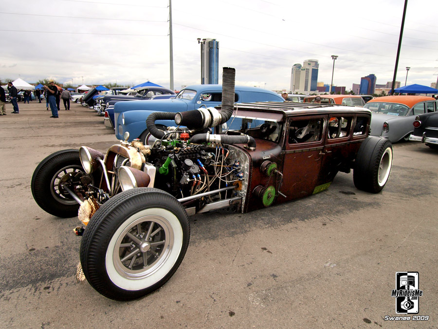Diesel Dodge rat rod with cheater slicks