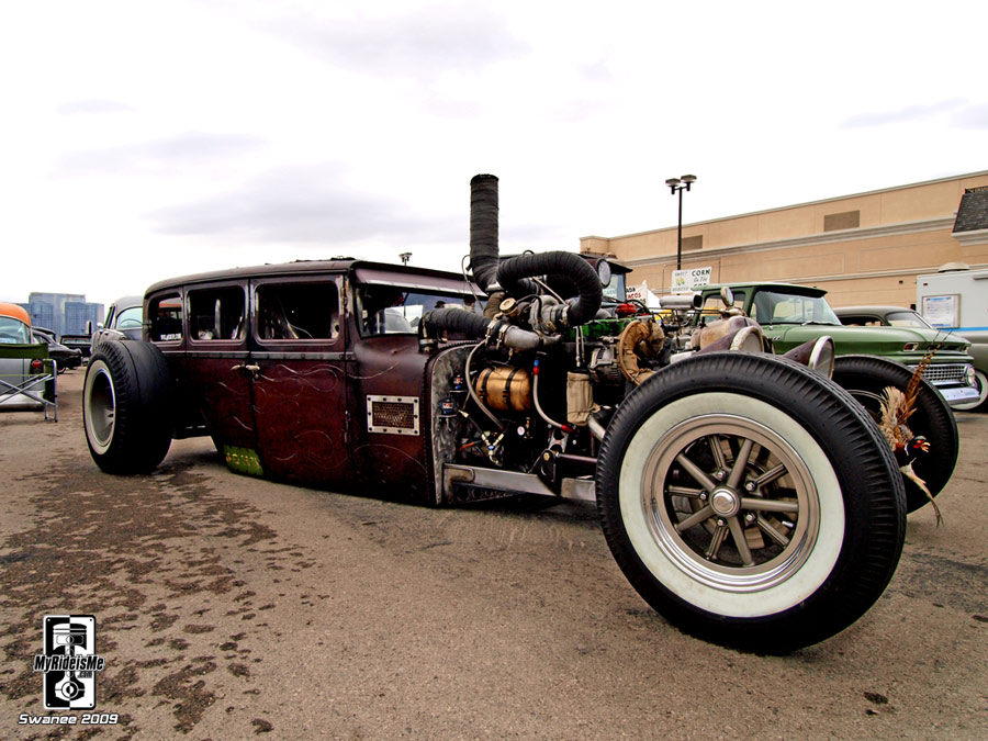 White walls, 4 door Dodge sedan hot rod rat
