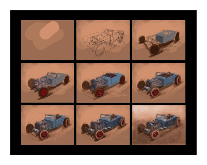 Dwayne Vance's demonstrates the progression of a lakes-modified roadster sketch