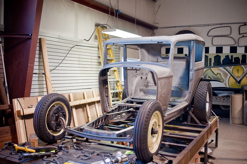 1932 Ford Tudor Sedan project car at Salt Flats Speed Shop in Orem, Utah