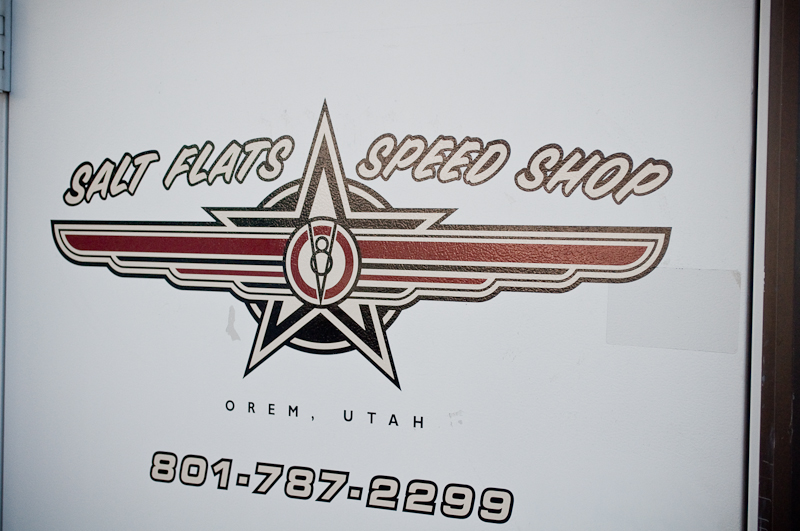 Salt Flats Speed Shop logo is a traditional hot rod style in itself