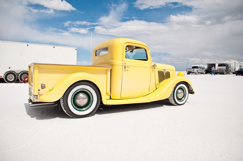 Bright yellow shop truck representing the Bean Bandits of San Diego at Bonneville