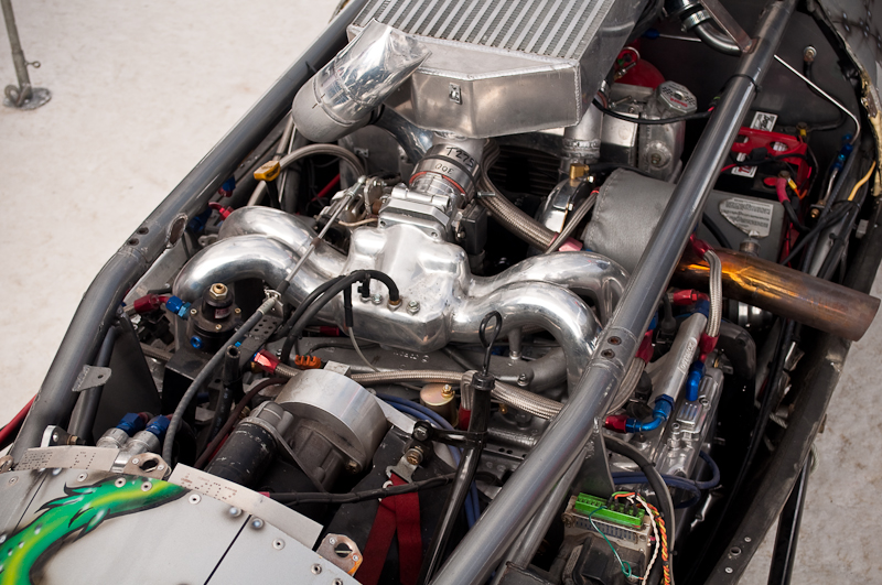 Close up of Shawn Killian's turbo WRX powered Rat Fink Lakester
