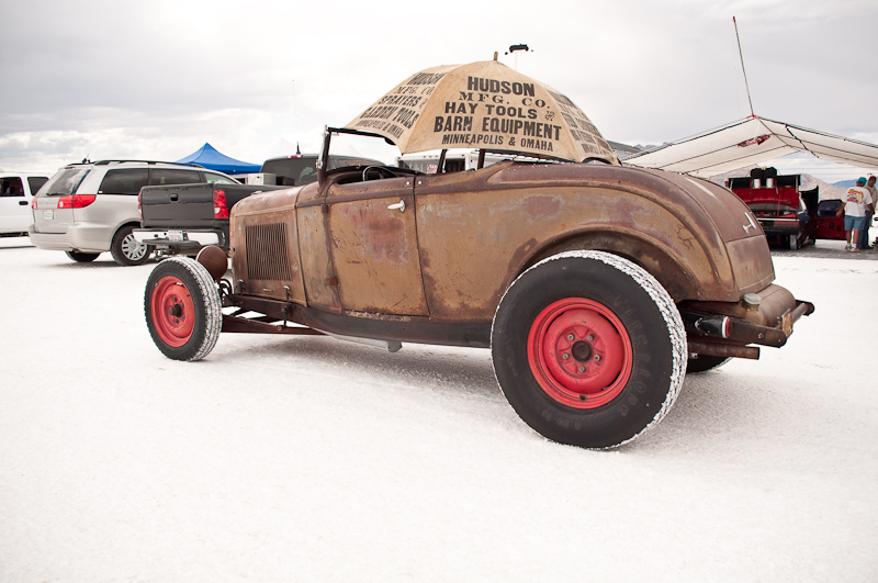 Rusty Ford roadster cruising the pits at Bonneville