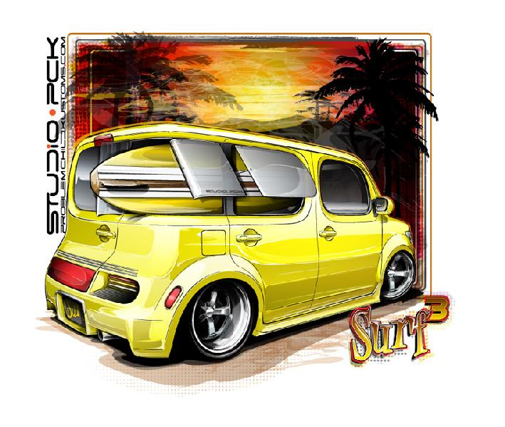 "Nissan Cube is a hot new car for 2009, this concept by PCKStudio takes hints from Ed Roth's ""Surfite"""