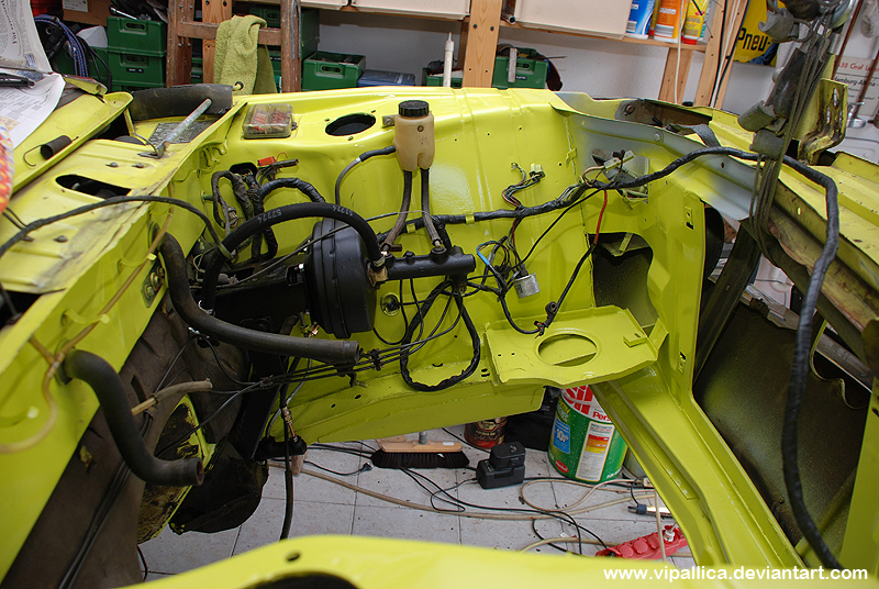 The 1802 Touring's engine bay is painted and ready for reassembly