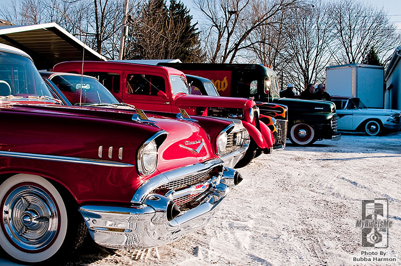 Hot Rods, posies cars parked in the snow drive it!
