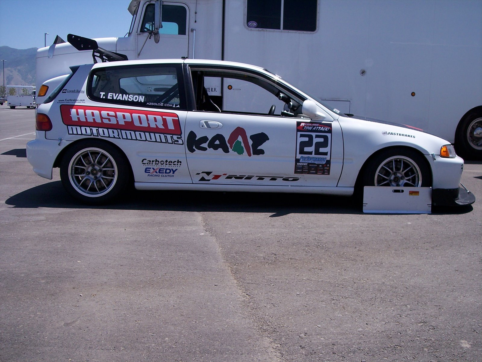 Side profile of the Hasport/Kaaz sponsored K powered Civic FF Time Attack racer
