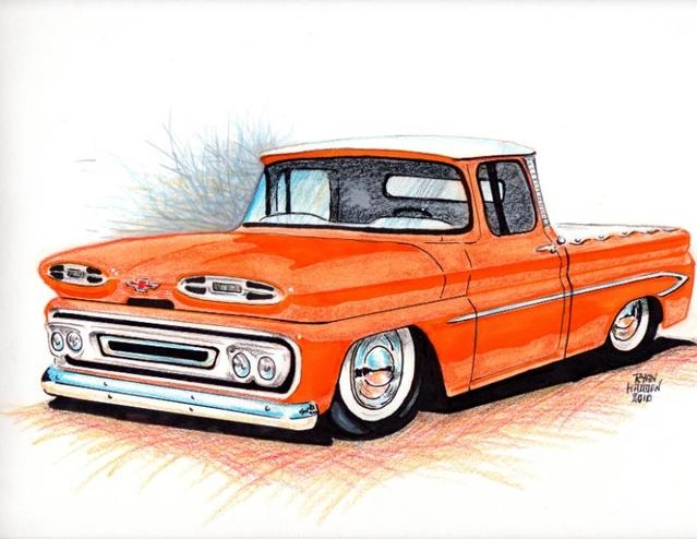 1961 Apache truck car drawing