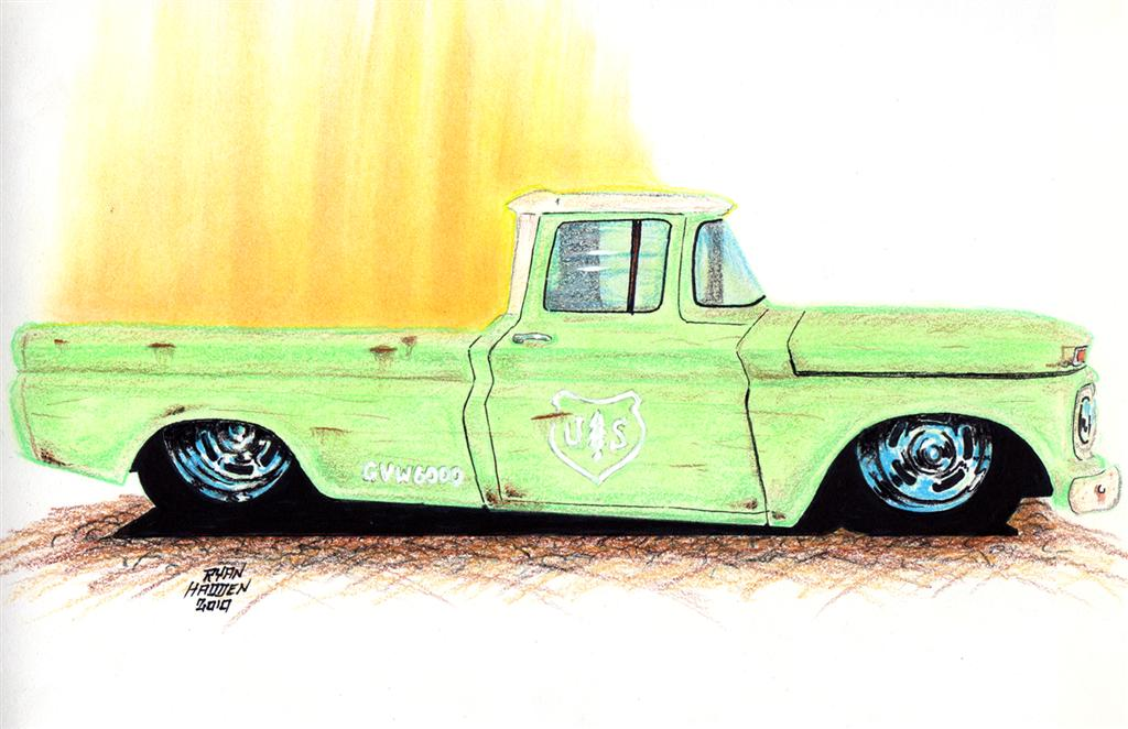 Ryan Hadden's car drawing of a US Forest Service Shop Truck