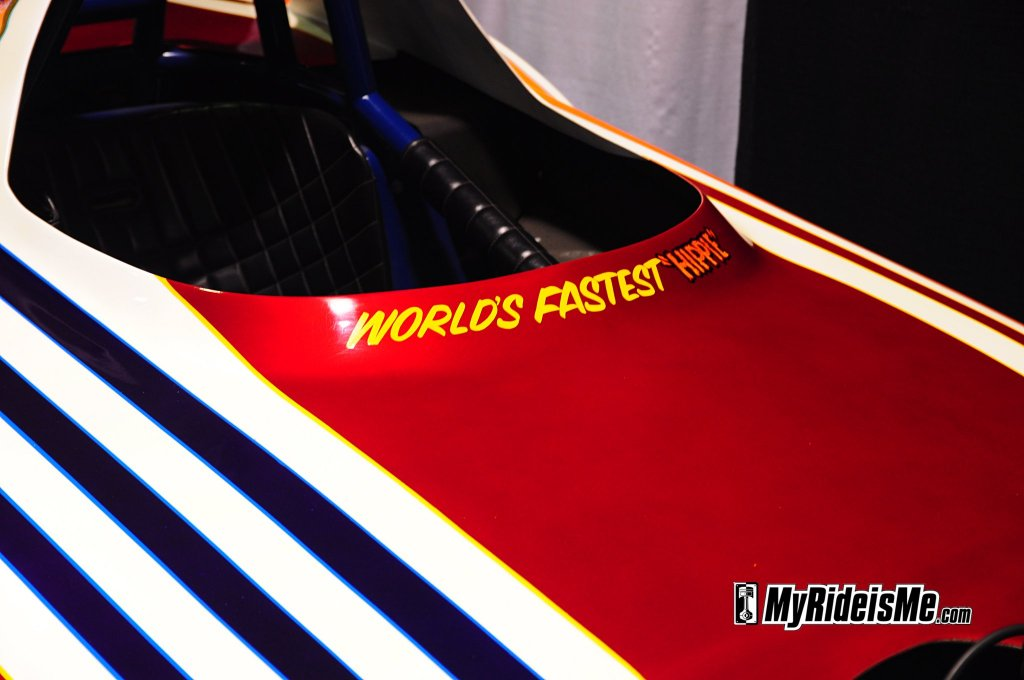 "Pinstriped ""Worlds Fastest Hippie"" Grand national roadster show"