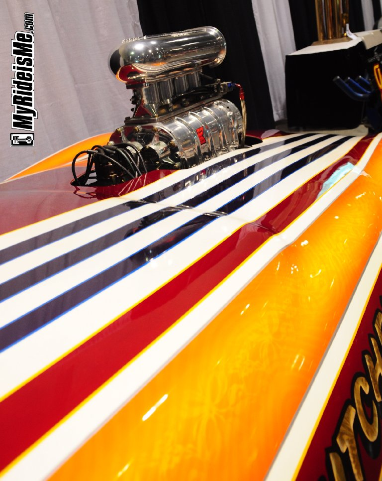 Funny car, wild paint job, Grand National Rodster Show