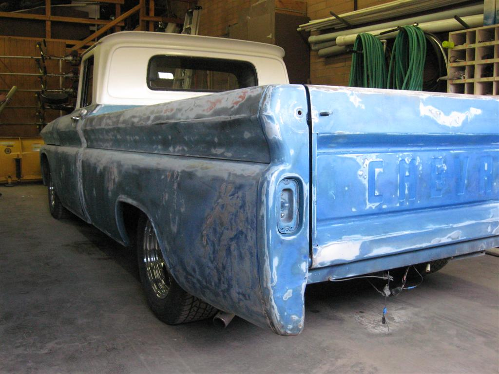 Rear shot of paint prep work for Andy's Pinstriping Shop Truck