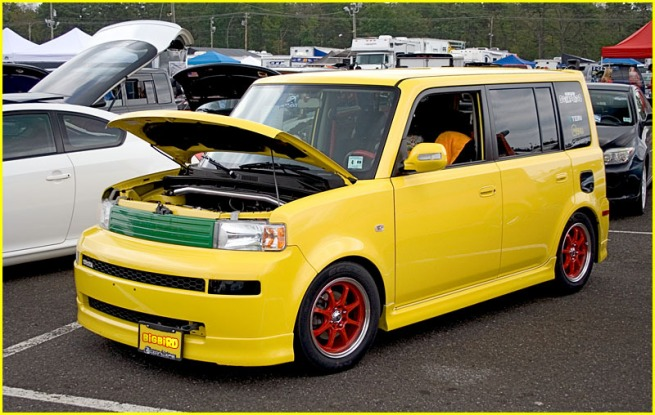 OMGPancake's own Yellow Scion xB at an Import Show