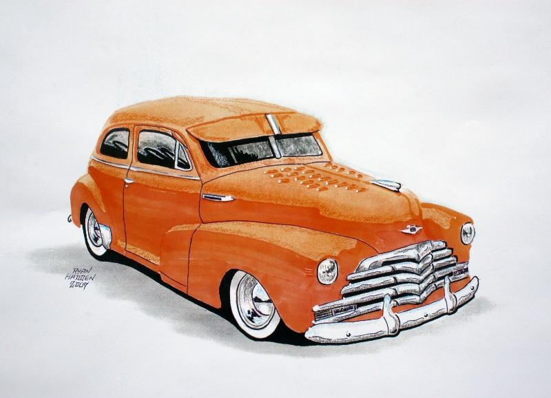 1947 Orange Chevy custom hot rod car drawing