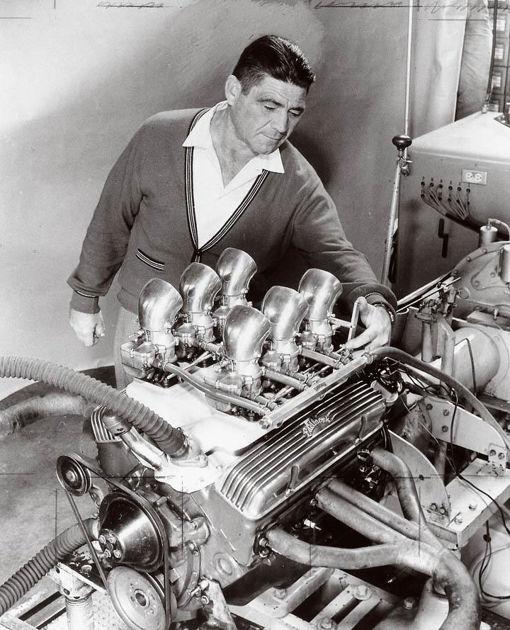 Vic Edelbrock Sr with his 283ci and X-1 manifold