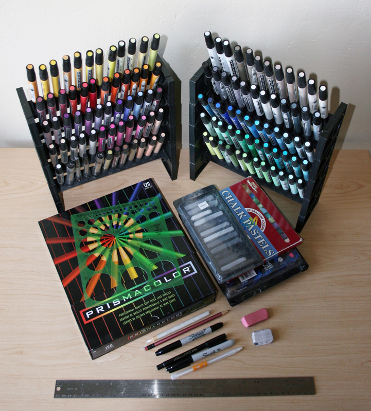 Tools of the car drawing trade, markers, pens, pencils, pastels, ruler